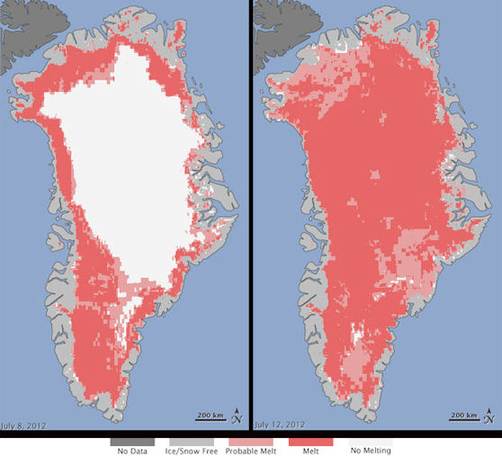 Greenland melt area July 8 and 12 2012