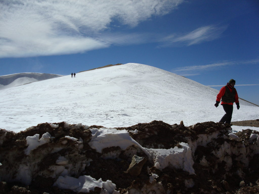 Glaciers and researchers in the Arid Andes